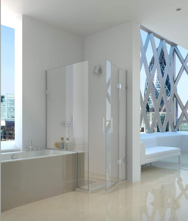 Дизайн ванної кімнати з вбудованим душем. Інтерєр суміщеного санвузла з душовою кабіною